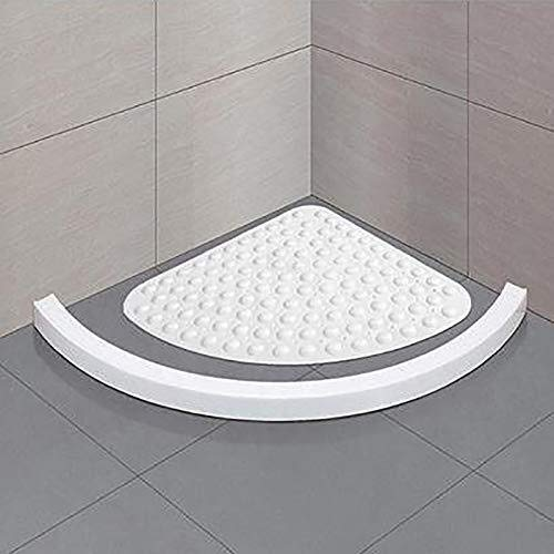 Corner Shower Mat Sector Rubber Anti-Slip Quadrant badmat aanzuiging for douchebak Non-Slip Bad Mat 54X54Cm, Grijs (Color : White)
