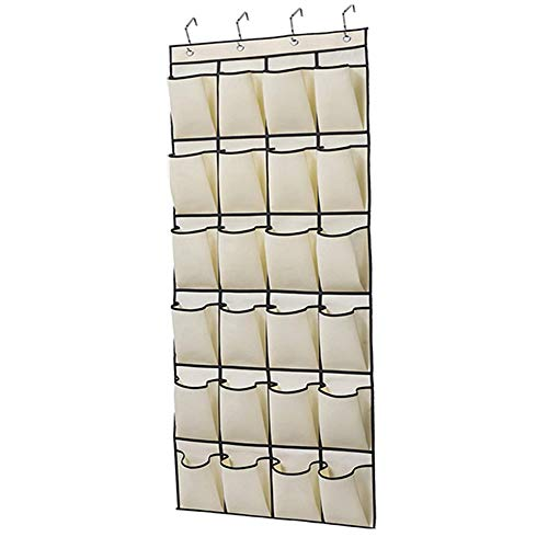 Organizador de Zapatos Colgante 24 Bolsillos Almacenamiento Zapatero de Puerta Multiusos Armario con 4 Ganchos para Cocina Dormitorio Baño Beige