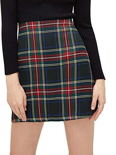 MakeMeChic Women's Plaid Skirt Zipper Back High Waist A-Line Mini Skirt B Black red XL