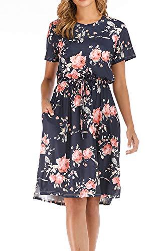 Yidarton Damen Sommer Kleid Kurzarm Blumendruck Patchwork Casual Plissee Midikleid mit Taschen, Marine3, M