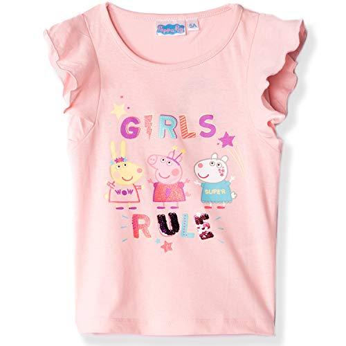 Peppa Pig - Camiseta oficial para niña, 100% algodón, con lentejuelas reversibles,...