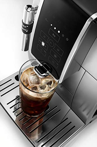 De'Longhi Dinamica ECAM35025SB TrueBrew Over Ice™ Fully Automatic Coffee and Espresso Machine, with Premium Adjustable… 8 The first and only fully automatic coffee machine with De'Longhi TrueBrew Over Ice Coffee technology. The True Brew Process Delivers Smooth, Full-Bodied Iced Coffee: Dinamica with De'Longhi TrueBrew Over Ice feature is the first and only Fully Automatic Coffee and Espresso Machine with iced coffee recipe. By brewing at a lower temperature, pre-infusing & infusing the coffee and offering the ability to customize to extra strong, De'Longhi TrueBrew Over Ice brews smooth, full-bodied coffee over ice that is never watered down. Heat-up time in less than 40 seconds: With Italian 15 bar high performance pump and a brew unit that takes only 40 seconds to heat up, you can have coffee shop quality coffee beverages with the push of a button.