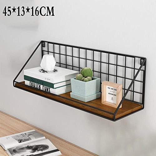 QSAA Restaurant plank muur opknoping decoratie slaapkamer muur woonkamer creatieve Scandinavische smeedijzeren TV-wandplank Woordpartitie (groot met Guardrail) - Noord-Amerikaanse zwarte walnoot