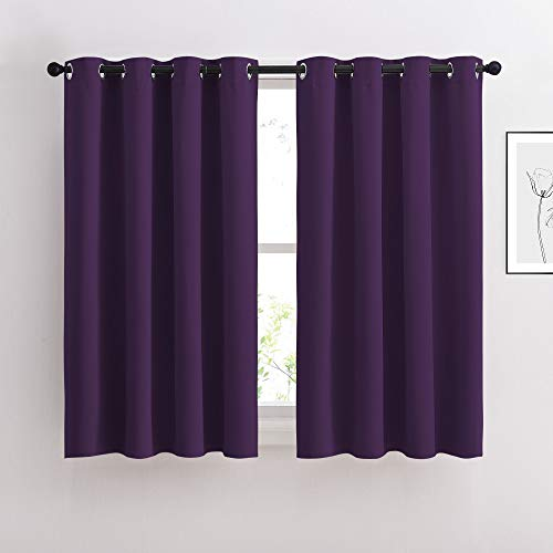 NICETOWN Blackout Curtains Drapery Panels - Window Treatment Royal Purple Blackout Drapes for Bedroom/Living Room Window, 52 inches Wide X 45 inches Long, 2 Panel Set