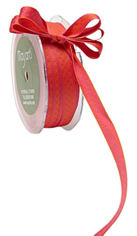 May Arts Ribbon 3/8 Inch Reversible Dots Ribbon, 25 yd, Orange/Hot Pink