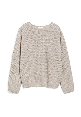 ARMEDANGELS SAADIE - Damen Pullover aus Bio-Woll Mix L Light Caramel Melange Strick Pullover U-Boot Loose fit
