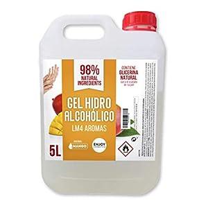 Gel hidroalcohólico, higienizante de 5 litros. Aroma suave a MANGO. Glicerina natural para el cuidado piel. 70% Alcohol. Desinfecta e higieniza cuidando tu piel.
