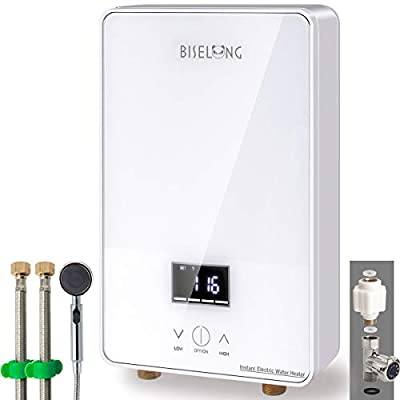 """Tankless Electric Hot Water Heater 220/240V under sink Kitchen Household, Small Compact Instant No Standby Losses,Hot Water Output of 1.8 GPM,2 PCs 16"""" Long 1/2""""FIP Copper Head Hose(White 7KW) (White)"""