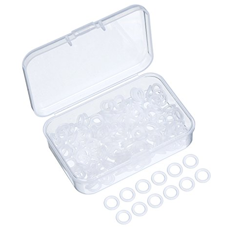 Sumind 200 Pieces Rubber Rings Seal O-Ring Rubber Keyboard Dampeners with Plastic Storage Box for Cherry MX Switch Keyboard and Mechanical Keyboard Keys (Clear)