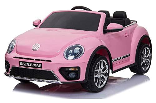 giordanoshop Macchina Elettrica per Bambini 12V Volkswagen Maggiolino New Beetle Rosa