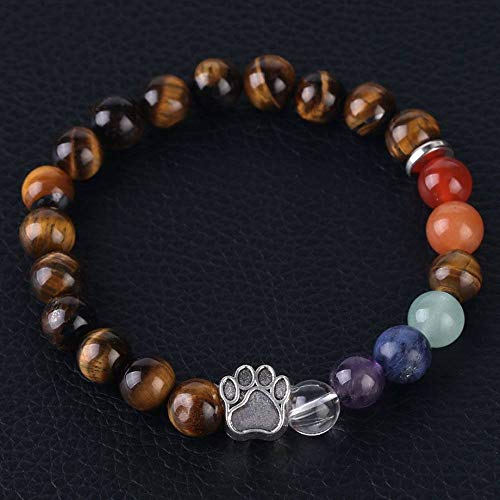Stone Bracelet,Vintage Gothic Unisex 7 Chakra Natural Beads Adjustable Bangle Silver-Color Bear Paw Crystal With Brown Tiger Eye Stone Beaded Bracelets For Women Birthday Party Men Friend Gift