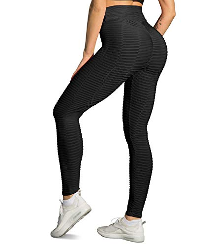 STARBILD Women's High Waist Ruched Butt Lifting Yoga Pants Tummy Control Stretchy Leggings Booty Textured Workout Tights XL
