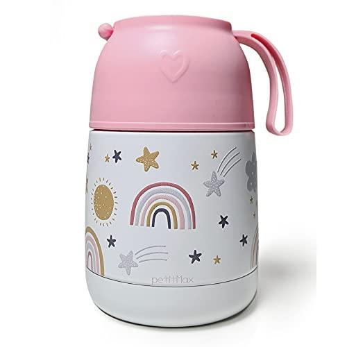 Petitmax: Termo Fiambrera De Acero Inoxidable Para Comida Caliente Solidos Bebe Sin BPA Con Cuchara Plegable Y Taza (Rosa Arcoiris)
