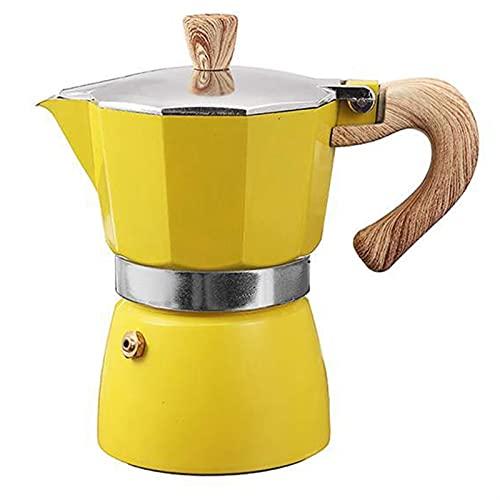 Aluminio Italiano Moka Espresso Máquina de café Filtro de la estufa 3 tazas (Color : A Yellow)