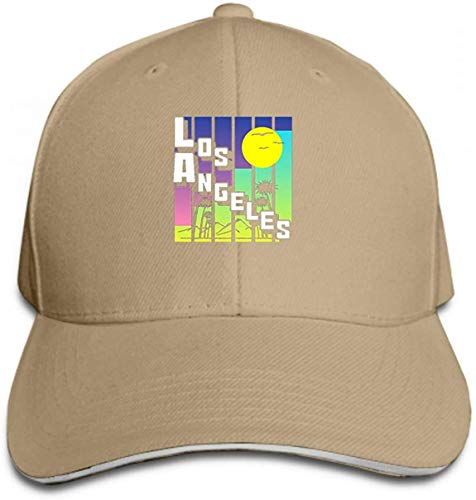 Classic Cotton Hat Adjustable Plain Cap, Baseball Cap Adjustable Size Curved Visor Hat Los Angeles Theme Print Graphic Design Element Clothing Sand Color Multicolor24578