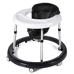 Andador Bebe, Silla de Bebe Plegable y Ajustable para bebés de 6 a 18 meses (Negro con Freno)