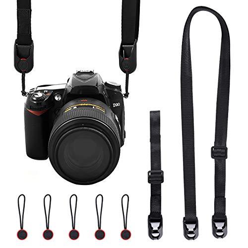 UCEC カメラストラップ、長さ調整可能 ネックストラップ+ハンドストラップ 一眼レフ/速写/デジカメなど用ストラップ ショルダーストラップ 黒