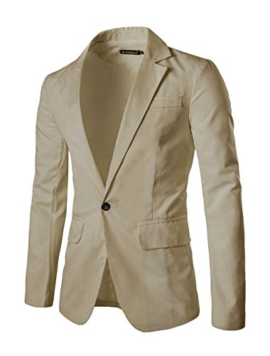 uxcell Men's Suit Jacket One Button Slim Fit Casual Lightweight Sport Coats Blazer Beige 44