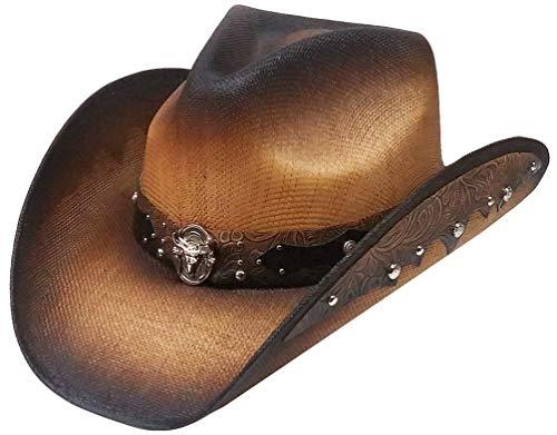 Modestone Unisex Straw Cowboy Hat Bangora 2 Tone Fabric Brim Edge White