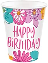 Floral Happy Birthday Disposable Paper Cups, 9 oz.- 8 pcs.