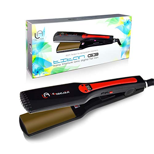 """Le Angelique Titan G3 - Titanium Plates 1.75"""" Flat Iron Hair Straightener Extra Wide Plates For Big Curly Hair"""