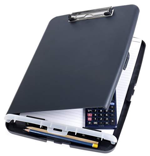 Officemate A4 Clipboard mit Aufbewahrungsbox für Studenten, Lehrer, Vertrieb, Büro - Zwischenablage - Aufbewahrungskoffer - Besonders Flach - Dunkelgrau / Anthrazit