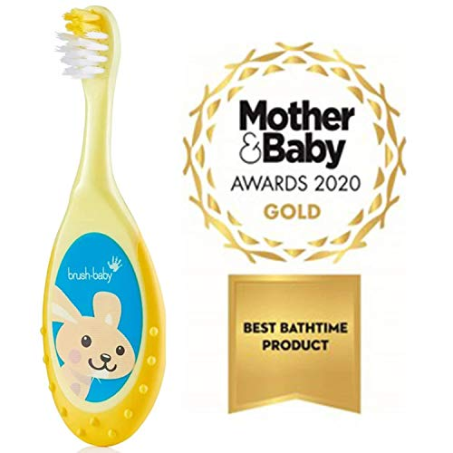 Brush-Baby FlossBrush Yellow (0-3 Years) - Ideal Starter Brush for Toddlers with a Short Neck and Round Body for Safer Brushing. (Pack of 4)