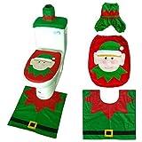 LJJYN Decoración navideña Novedad 3 Piezas Navidad Festivo Asiento de Inodoro, Tanque y Alfombra Juego de decoración de baño (Santa Claus)