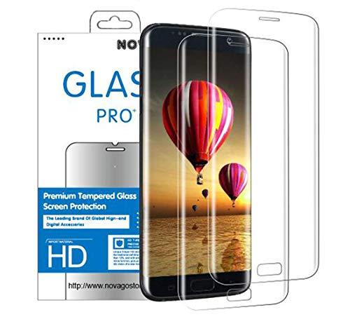 NOVAGO Compatible avec Samsung S7 Edge - Pack de 2 Films Protection écran en Verre trempé résistant 3D incurvé Couvre Tout écran (Transparent)