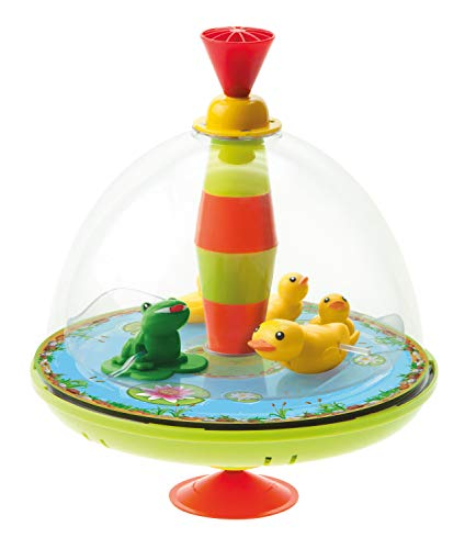 Bolz 52130 - Panoramakreisel Entenfamilie ca. 19 cm, Kunststoff Schwungkreisel, klassischer Pumpkreisel, Musikkreisel mit Enten Motiv, Kreisel mit Standfuss, Spielzeugkreisel für Kinder ab 18 Monate
