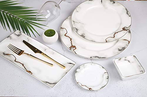 Zellerfeld 23-teiliges Frühstücksset Kahvalti Takimi Porzellan Frühstücksservice Tafelservice für 6 Personen, Teeglas Unterteller, Schale, Servierplatte, MarbleDesign