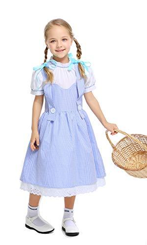 "Fantasia de Dorothy da Yolsun para meninas, fantasia infantil de Mágico de Oz, Azul, L(Suggested Height:54""-59"")"