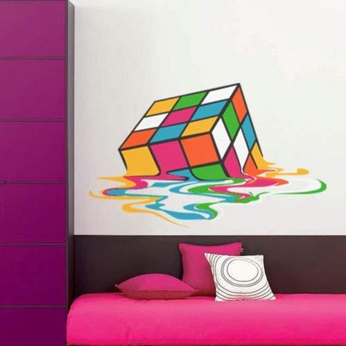 Cubo de Rubik Derretido Rompecabezas Mecánico Tridimensional Etiqueta de Pared Vinil Pegatina Autocolante Sticker Decoración de Dormitorio Personalizado Pegatina M890 (Grande: 100 x 61 cm)