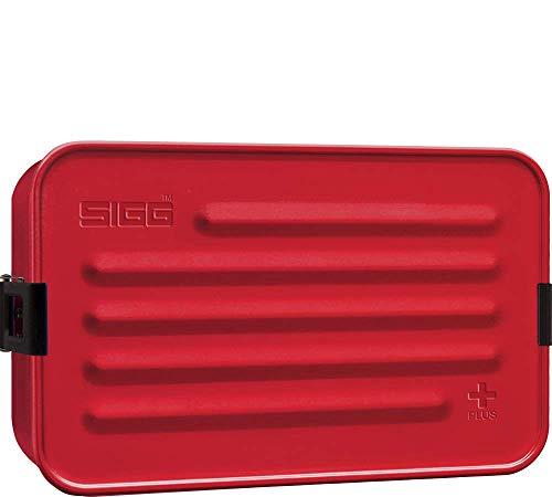 SIGG Metal Box Plus L, Lunchbox 1.2 L, moderne Brotdose mit praktischem Einsatz, federleichte Brotbox aus Aluminium mit Trennwand, Rot
