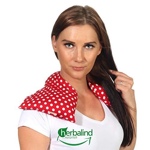 Rotkäppchen HERBALIND 3-Kammer Wärmekissen Nackenkissen Traubenkernen - OEKO TEX 20x50 cm für Schulter Nacken sowie Bauch, Rücken, bei Verspannung, Prellung und Verstauchung – rot