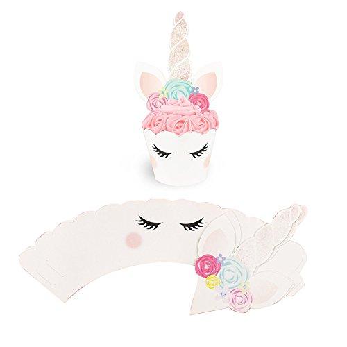 takestop® Set 24 stuks (12 hoezen + 12 topper) toppers eenhoorn hoorn roze effen cup cake feesta verjaardag decoratie hoorn bloemen oren kinderogen