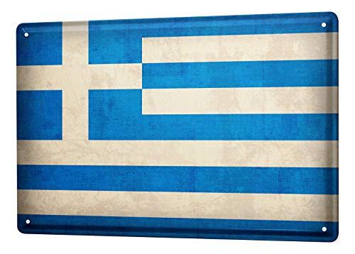LEotiE SINCE 2004 Blechschild Dekoschild Küche Garage Welt Reise Griechenland Flagge Wand Deko Schild 20X30 cm