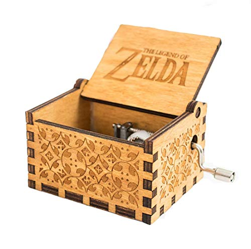 MINSOTO Caja de música de Madera Tallada a Mano, diseño de la Leyenda de Zelda ((B) Madera)