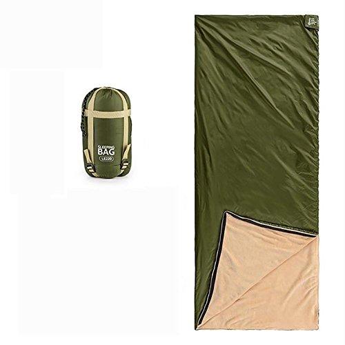 MIAO Schlafsack - Outdoor Mini Umschlag Korallen Samt Schlafsäcke, das Hotel tragbare isolierte schmutzige Schlafsäcke, Army Green