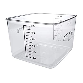 Rubbermaid Commercial Products Plastic Space Saving Square Food Storage Container for Kitchen/Sous Vide/Food Prep 12 Quart Clear