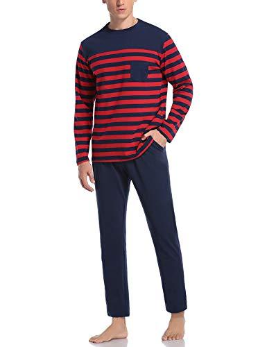 Hawiton Herren Schlafanzug Pyjama lang Zweiteiliger Gestreift Baumwolle Nachtwäsche Langarm Hausanzug Sleepwear (Rot, XX-Large)