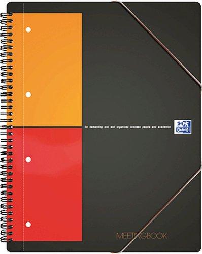 Oxford Meetingbook/357001701 A4+ schwarz/rot/orange kariert 80g/qm 80Blatt