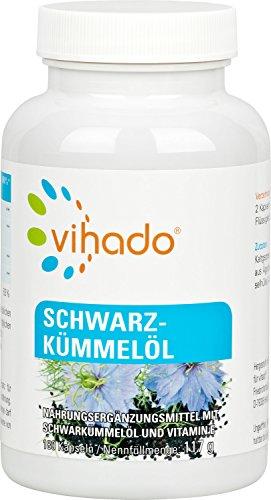 Vihado Schwarzkümmelöl Kapseln hochdosiert • Kaltgepresst aus Ägypten • Mit Vitamin E • 180 Kapseln Sparpaket • Ohne Zusatzstoffe • Made in Germany