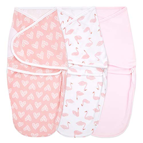 aden + anais Essentials Easy Wrap Swaddle, Cotton Knit Baby Wrap, Newborn Wearable Swaddle Sleep Sack, 3 Pack, Briar Rose, 0-3 Months