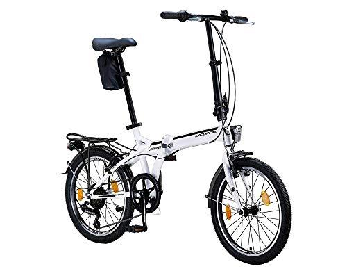 Licorne Bike CONSERES Premium Faltrad, Klapprad in 20 Zoll - Fahrrad für Herren, Jungen, Mädchen und Damen - Shimano 6 Gang-Schaltung - Hollandfahrrad - Weiß/Schwarz