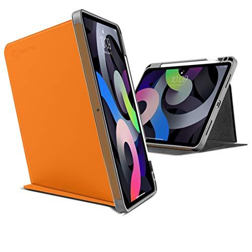 tomtoc 10.9 iPad Air 4 2020 ケース 3モード 保護カバー 多段階スタンド機能 縦置き タイピング 映画鑑賞 PUレザー 耐衝撃 アップルPencil 2代 ワイヤレス充電可 オレンジ