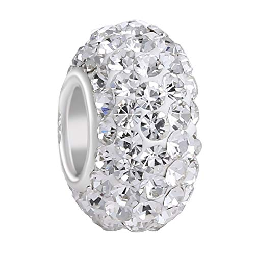 925 Sterling Silver Clear Swarovski Elements Czech Crystal Charm Bead April Birthstone Fits Major Brands Bracelets
