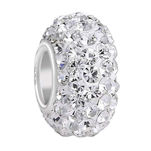 925 Sterling Silver Clear Swarovski Elements Czech Crystal Charm Bead April Birthstone Fits Major Brands Bracelets