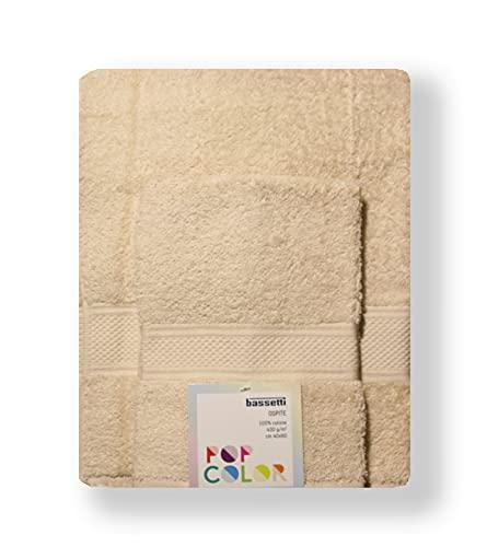 Bassetti - Set Asciugamani Da Bagno Viso e Bidet Bassetti | Coppia Asciugamani da Bagno con Ospite | 60x110 cm + 40x60 cm | Col.30 - Beige