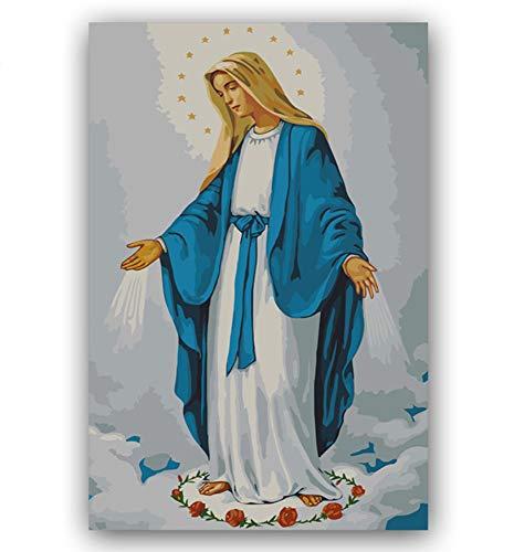 Bricolaje Dibujos Para Colorear Imágenes Con Números Con Colores Virgen María Jesús Madre Imagen Dibujo Pintura Con Números Enmarcados Inicio 40X50Cm Sin Marco
